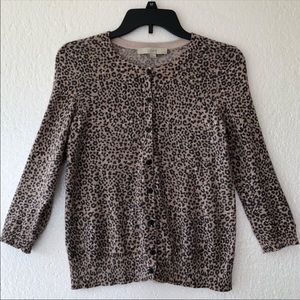 EUC LOFT Button Front Animal Print Cardigan PM